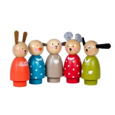 Set de 5 personnage en bois La Grande Famille - Moulin Roty