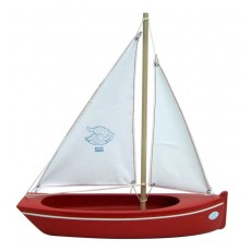 Barque Plate 32 cm coque Rouge/voile Blanche - Tirot