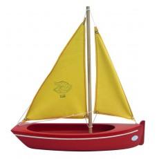 Barque Plate 32 cm coque Rouge/voile Jaune - Tirot