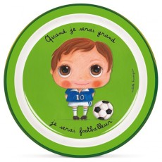 Assiette plate mélamine Footballeur - Quand je serai grand(e) par Isabelle Kessedjan