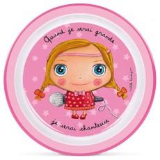 Assiette plate mélamine Chanteuse - Quand je serai grand(e) par Isabelle Kessedjan