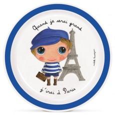 Assiette plate mélamine Paris Garçon - Quand je serai grand(e) par Isabelle Kessedjan