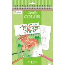 Bloc de coloriage Graffy Color Ferme - Avenue Mandarine