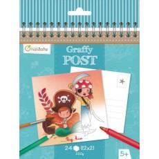 Bloc de cartes postales à colorier Graffy Post Pirates et Sirènes - Avenue Mandarine