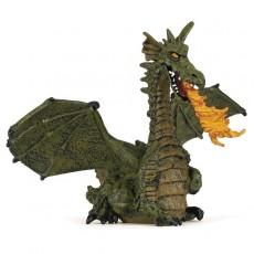 Figurine Dragon ailé vert avec flamme - Papo