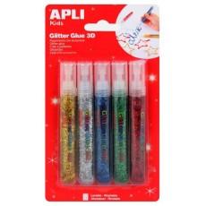 5 tubes de colle à paillettes métalisé - APLI Kids
