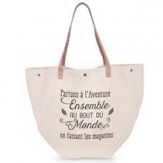 Grand sac shopping Partons à l'aventure ensemble au bout du monde en faisant les magasins - Créa Bisontine