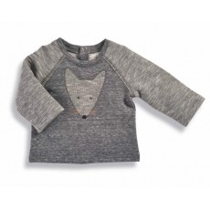 Nico Sweat-shirt gris renard Les Petits Habits Tartempois hiver 2017 - Moulin Roty