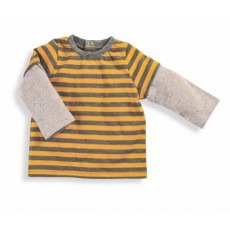 Nino Tee-shirt rayé moutarde/gris Les Petits Habits Tartempois hiver 2017 - Moulin Roty